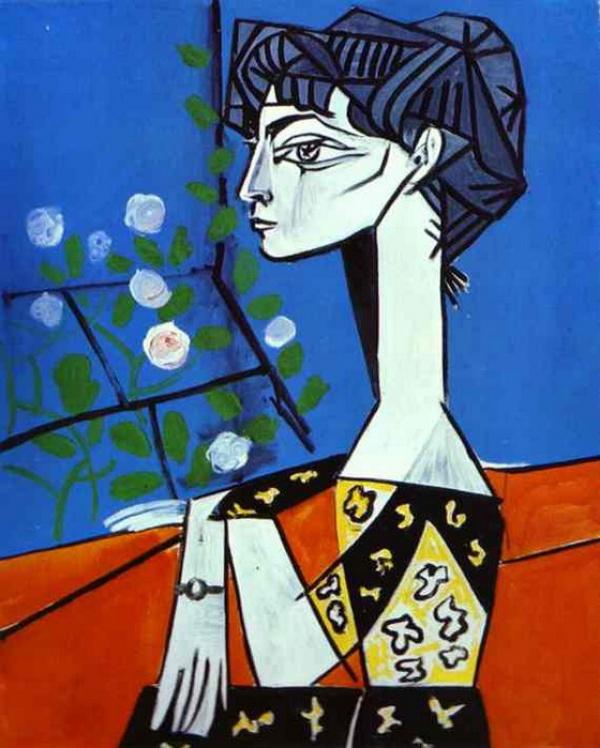 Жаклин с цветами 1954