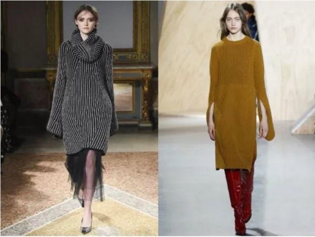 вязанный женский длинный свитер