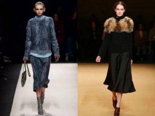 женский модный свитер с мехом